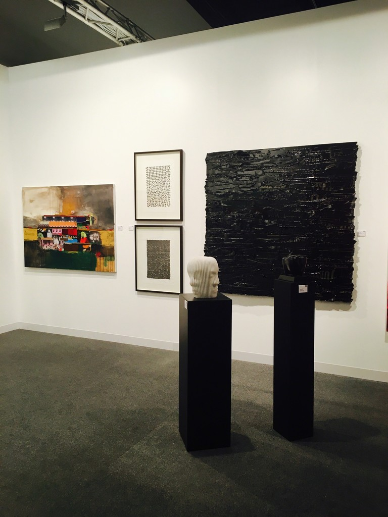 Our show art Art Abu Dhabi, where you see Connie Noyes Black painting andFatima al Mazrouie and the two drawings of Hussain Sharif, Hwand Sculpture and Jamal Abdul Rahim Toros .
