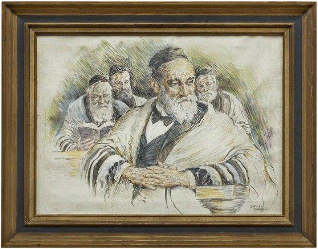 Samuel George Cahan, 'Vintage Illustration Judaica Painting, The Rabbi's (Men at Prayers)', Mid-20th Century, Lions Gallery
