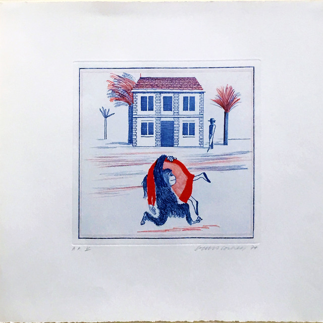 """David Hockney, 'Geography Book: Illustration for """"A Simple Heart"""" of Gustave Flaubert', 1974, Hamilton-Selway Fine Art Gallery Auction"""