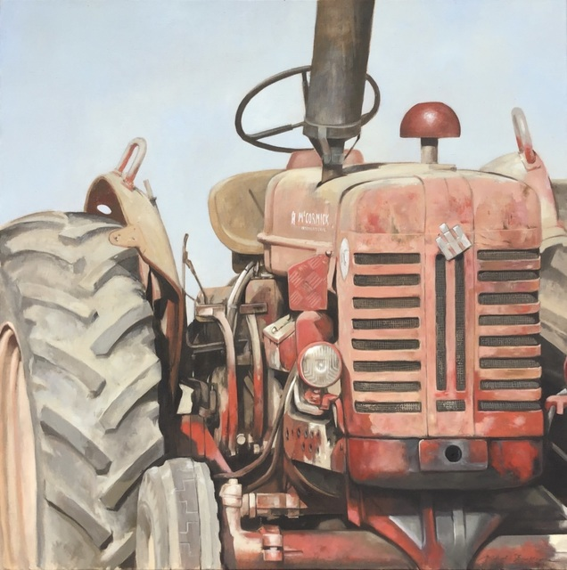 """Michel Brosseau, '""""Big Red"""" photorealistic oil painting of a dusty red tractor', 2019, Eisenhauer Gallery"""
