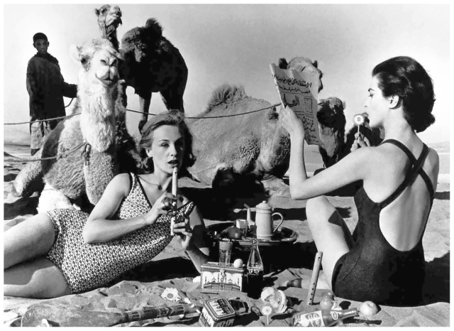 William Klein, 'Tatiana, Mary Rose and Camels, Picnic, Morocco', 1958, HackelBury Fine Art