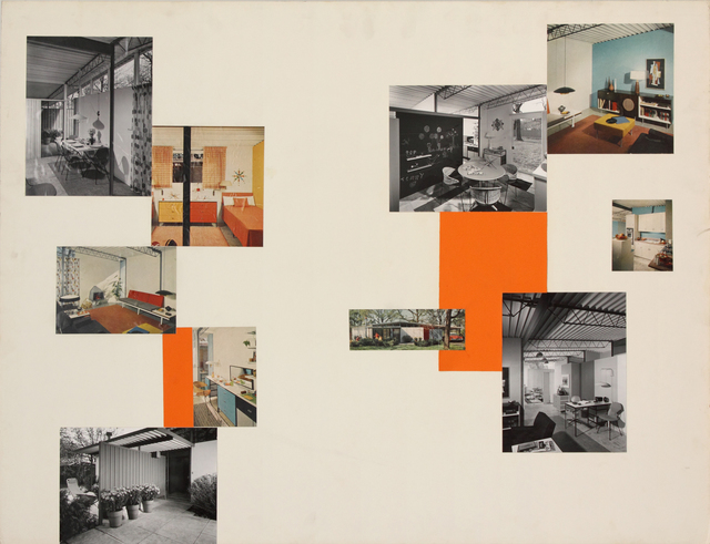 , 'Presentation panel for U.S Gypsum, Steel House Prototype, Barrington, IL, with vintage original photographs by Hedrich-Blessing and magazine clippings,' 1954, Edward Cella Art and Architecture