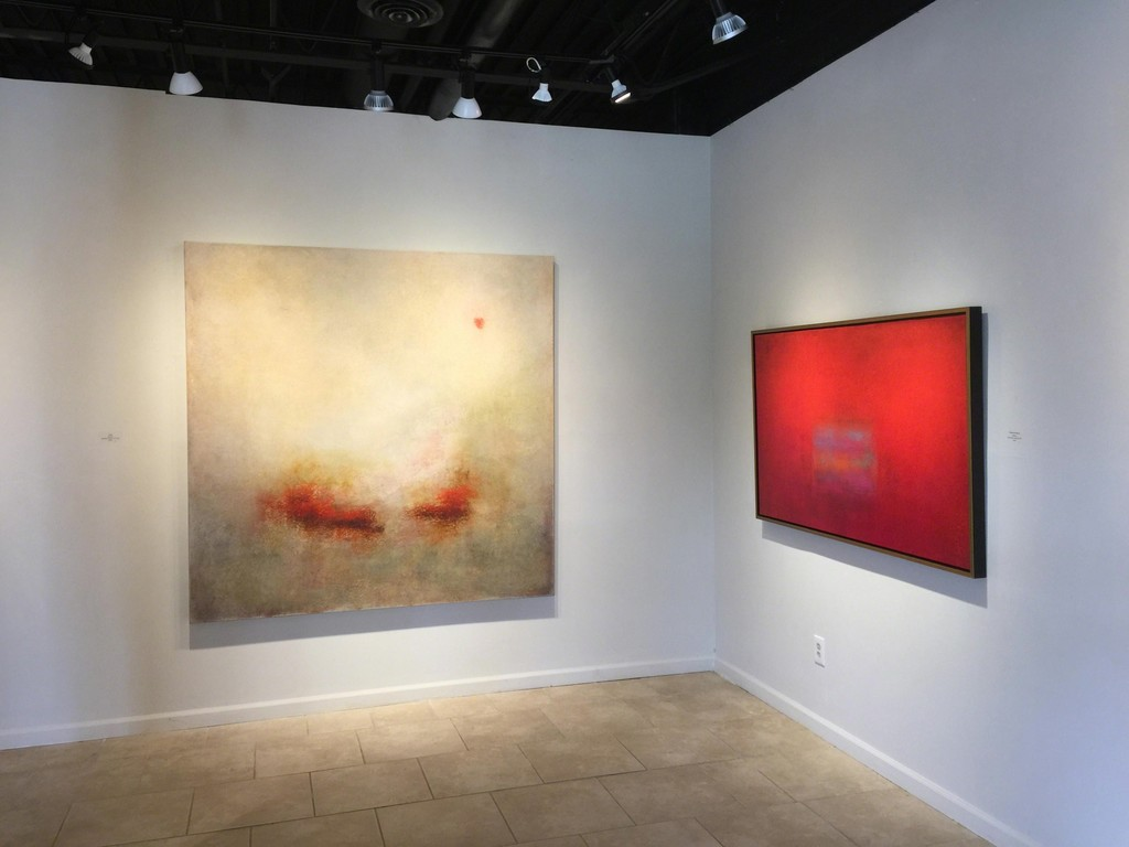 Signs of Spring exhibition, two paintings by Scott Upton, (L) Misty Sunrise, mixed media on canvas, 72 x 72 inches; (R) Passion and Pleasure, mixed media on canvas, 36 x 60 inches