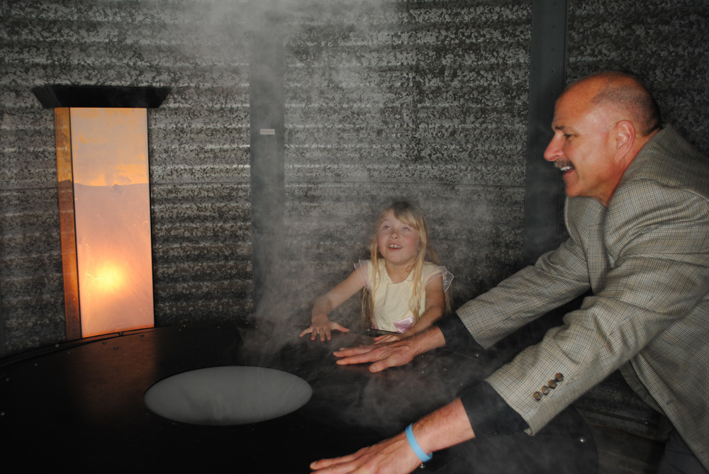 "Visitors interact with Ned Kahn's ""Cloud Rings"" (1995) in di Rosa's Gatehouse Gallery."