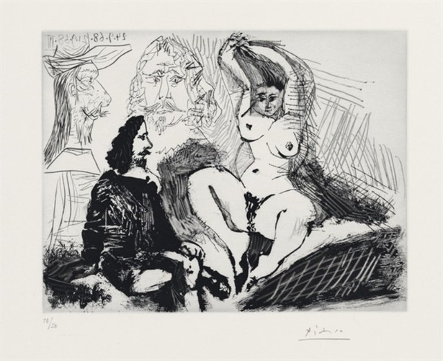 Pablo Picasso, 'A MAN SEATING WITH A WOMAN AND TWO ARTISTS', 1968, Altmans Gallery