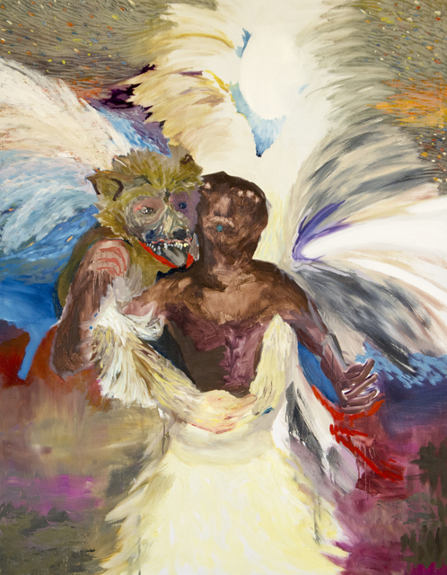 , 'Je te mangerai la bouche pleine 2016 (tausend Sterne hundert Zähne)  Oel auf Baumwolle 142 X 112 cm zusammenarbeit mit Alex Bleuler,' 2016, LICHT FELD Gallery