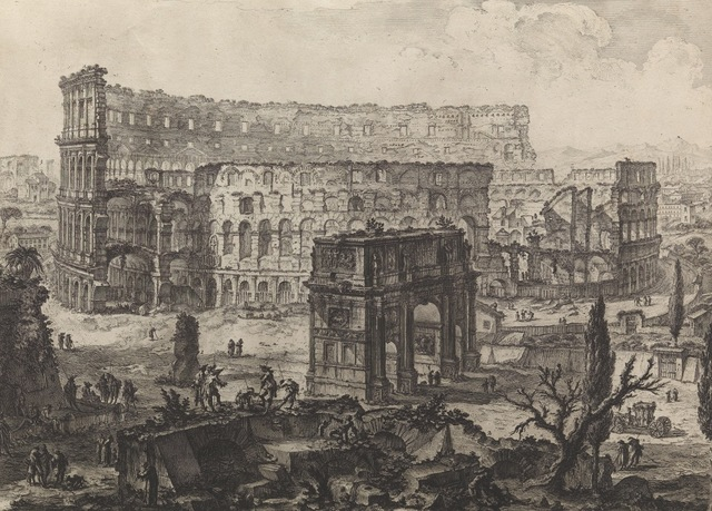 , 'The Arch of Constantine and the Colosseum Vedute dell' Arco di Costantino, e dell' Anfiteatro Flavio il Colosseo,' 1760, Thomas French Fine Art