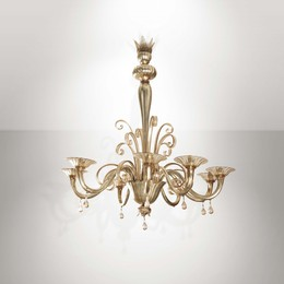 a mod. 2001 lamp from the Soffiati series, blown glass with inner silver mirroring