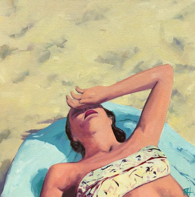 T.S. Harris, '''Beach Swoon'' oil painting of a woman sunbathing on a blue towel', 2019, Painting, Oil on Canvas, Eisenhauer Gallery