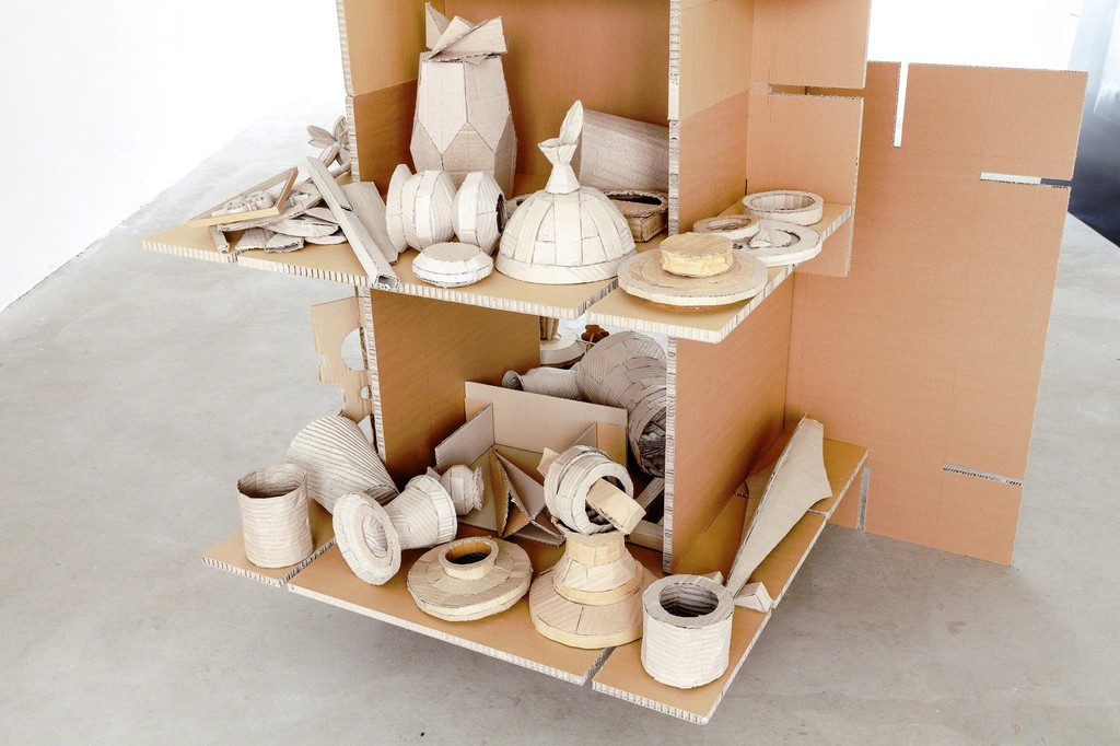 "exhibition view Selma Weber: ""Collection"", 2018, cardboard-pottery on shelf, 170 x 116 cm 