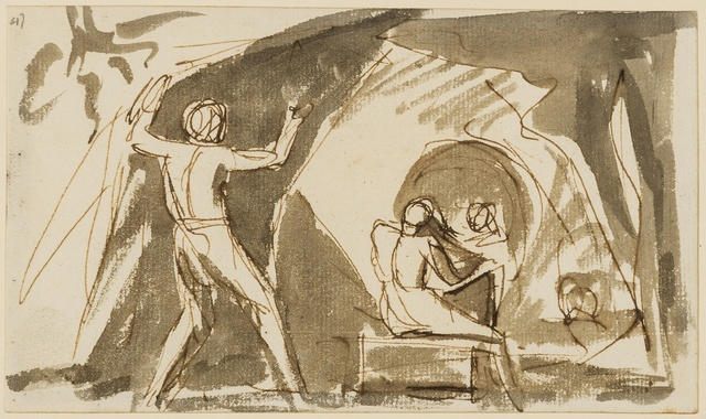 George Romney, 'Figure studies, probably Shakespeare's Tempest, Act V, scene i: Miranda and Ferdinand playing chess in Prospero's cell', Forum Auctions