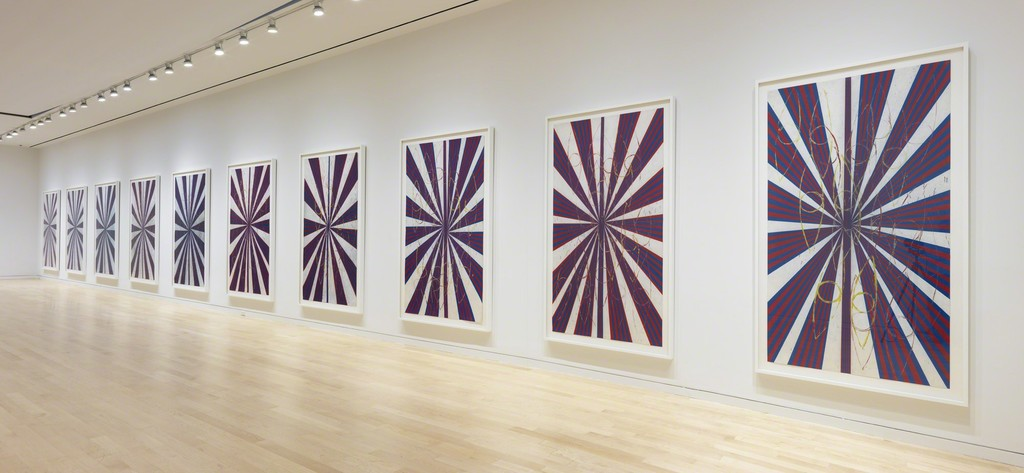 MARK GROTJAHN Untitled (Captain America Drawing in Ten Parts  41.17), 2008–09 (detail) Installation View Colored pencil on paper Each framed panel: 93 x 55 1/8 x 2 3/8 inches (236.2 x 140 x 6 cm) Artwork © Mark Grotjahn. Photography by Robert McKeever. Courtesy Gagosian Gallery.