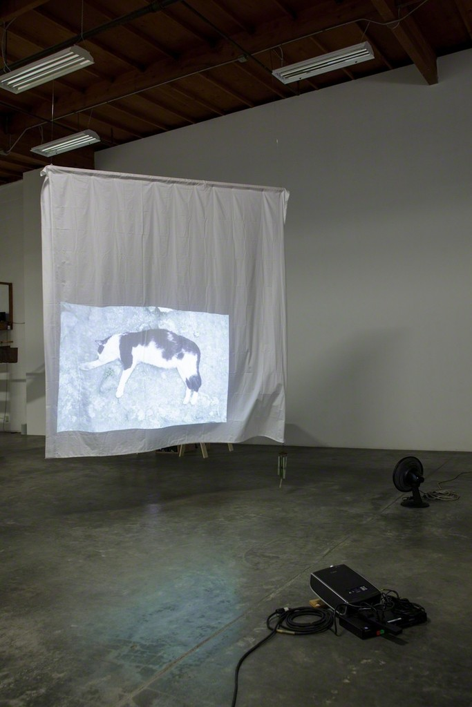 Simone Forti, Largo Argentina, 1968/2012 Video projection, linen sheet, wind chime, oscillating fan Installation at The Box, Los Angeles Image courtesy of the artist and The Box, LA Photo: Fredrik Nilsen