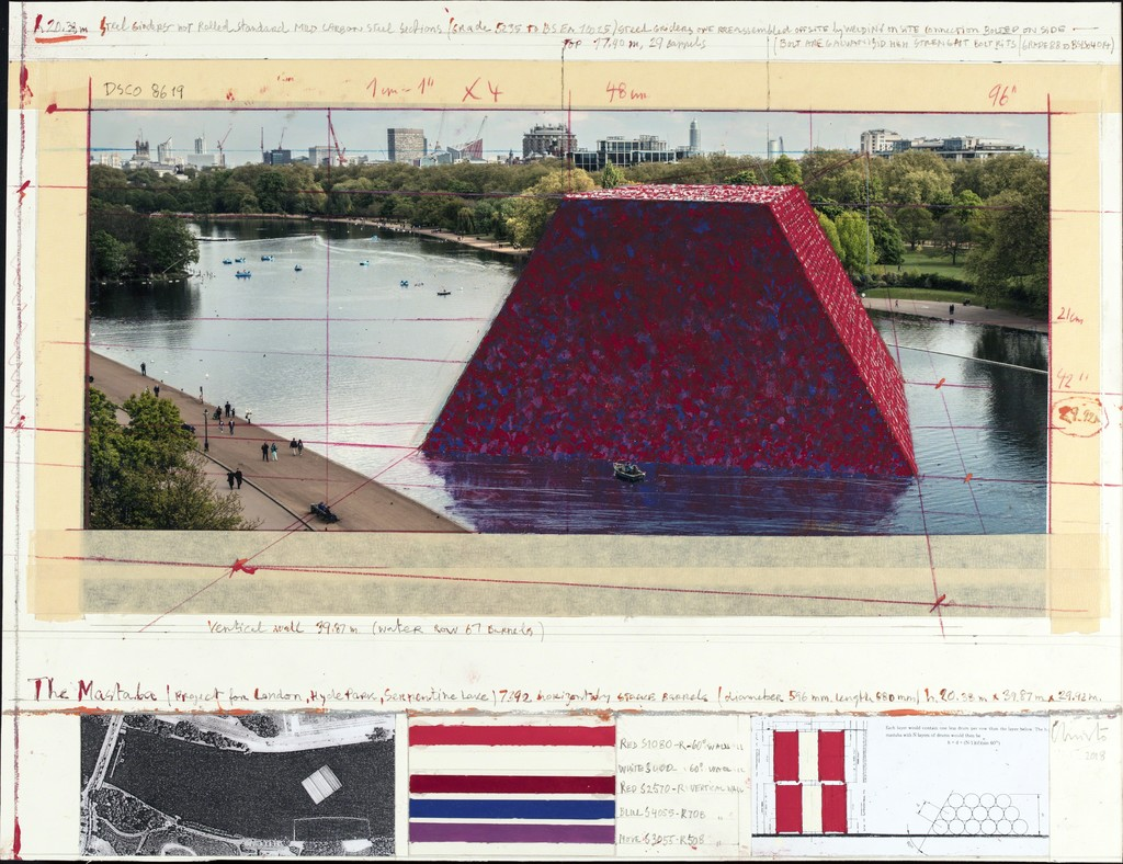 Christo, The Mastaba (Project for London, Hyde Park, Serpentine Lake),