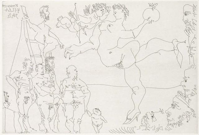 Pablo Picasso, 'Circus Scene with Venus and the Golden Apple and a Cupid (El Entierro del Conde de Orgaz, B.1469)', 1969, Martin Lawrence Galleries
