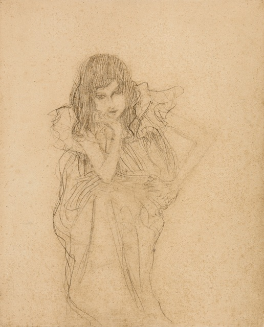 ", 'Seated girl, Study for ""Music II"",' 1897-1898, W&K - Wienerroither & Kohlbacher"