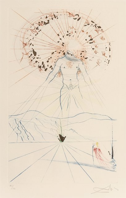 Salvador Dalí, 'The voice of my beloved! Behold! He commeth leaping upon the mountaines, skipping upon the hills, from Song of Songs of Solomon', 1971, Print, Etching in colors on Arches paper, Heritage Auctions