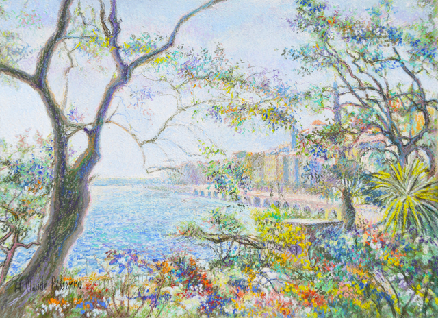 Hugues Claude Pissarro, 'Terrasse à Menton ', ca. 1999, Painting, Pastel on canvas and card, Guarisco Gallery