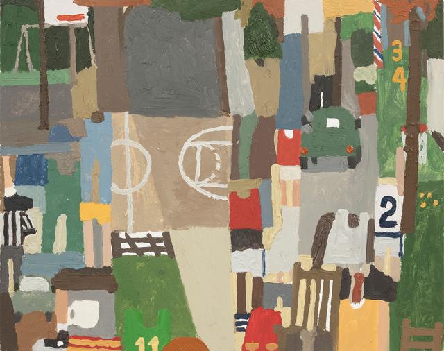 , 'Basketball, Barber Pole, Autumn Leaves, Ref,' 2018, Steve Turner