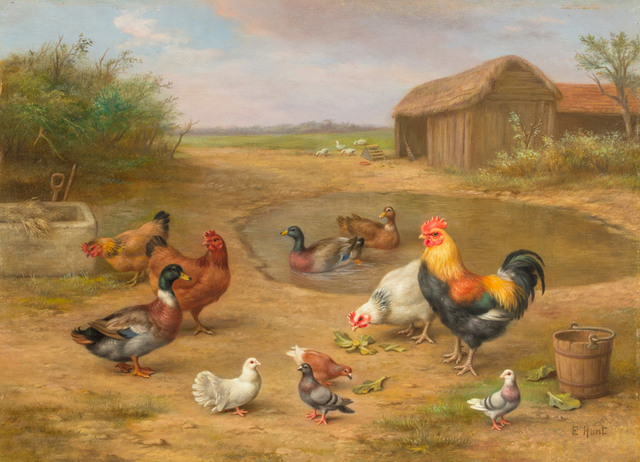 Edgar Hunt, 'Farm Yard with Fowl', Late 19th or 20th Century, Vose Galleries