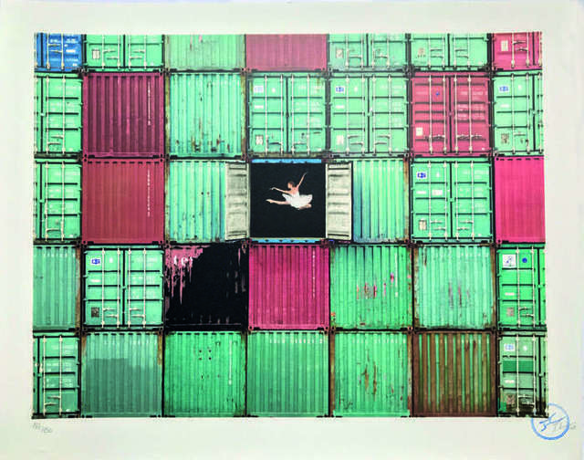JR, 'The ballerina jumping in containers, Le Havre, France,', 2014, Digard Auction