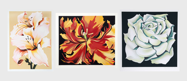 Lowell Nesbitt, 'Peach Lily on Beige; Red and Yellow Parrot Tulips; White Rose (three works),' 1980-1981, Heritage Auctions: Holiday Prints & Multiples Sale