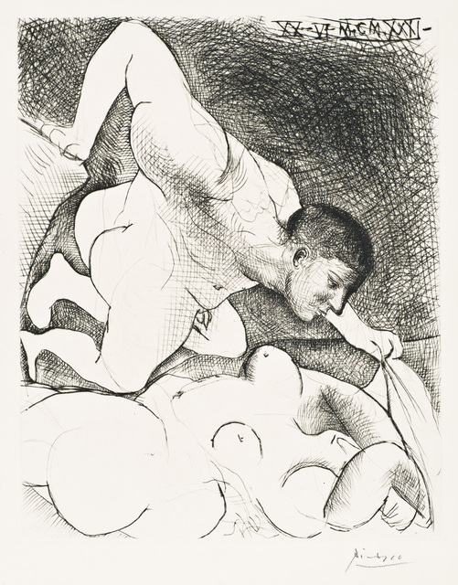 "Pablo Picasso, 'Homme Dévoilant Une Femme', 1931, Print, Original drypoint printed in black ink on Montval laid paper bearing the ""Vollard"" watermark., Christopher-Clark Fine Art"