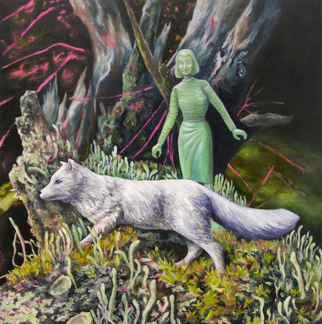 , 'Intimate Distance: Green Woman, Arctic Fox, & Lichen,' 2018, James May Gallery