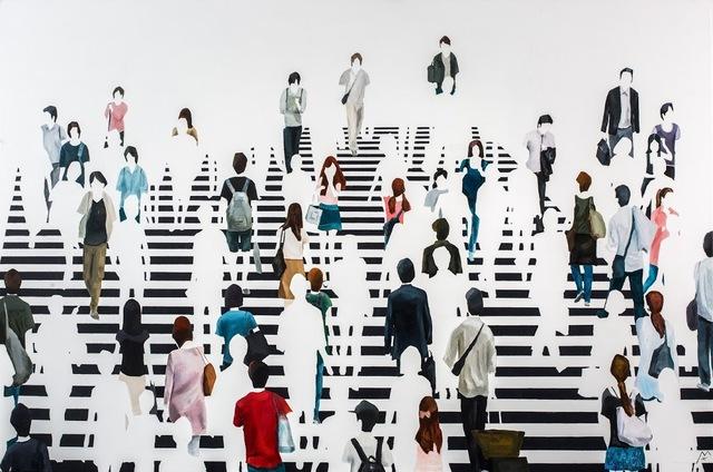 "Martta García Ramo, '""Babel"" oil painting of pedestrians walking on a black and white crosswalk', 2019, Eisenhauer Gallery"
