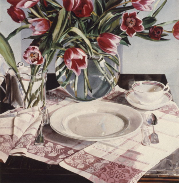 Carolyn Brady, 'Vermillion Tulips on Pink Grid', 1984, Nancy Hoffman Gallery