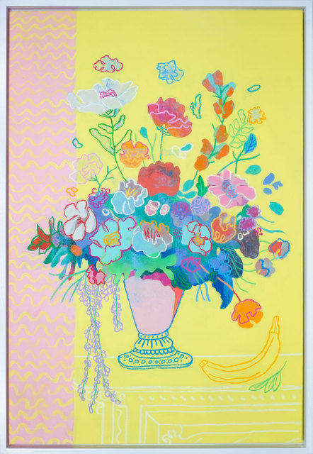 , 'Floral on Banana Yellow,' 2017, Rebecca Hossack Art Gallery