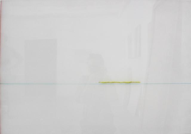 , 'Gelb durch weiß, türkiser Strich,' 2018, Galerie Heike Strelow