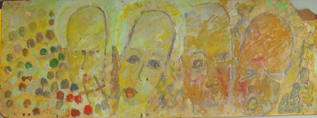Purvis Young, 'Purvis Young, Four Yellow Angels, Painting on Fiber Board circa 1990', ca. 1990, Hedges Projects