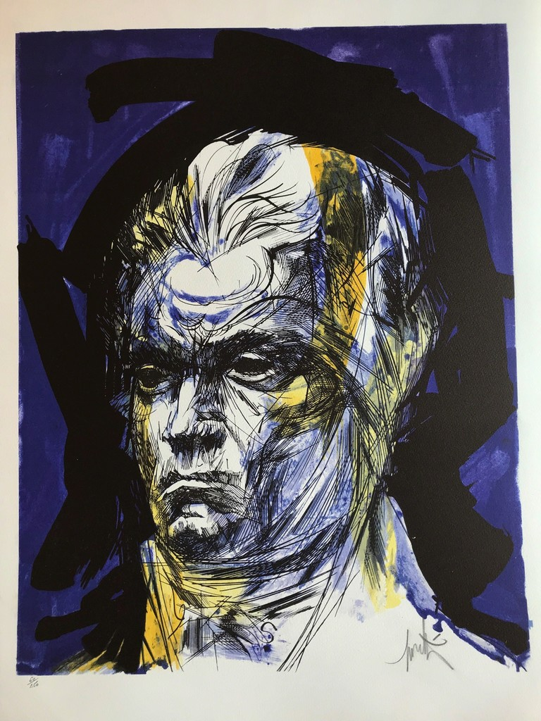 Raymond Moretti's pencil line is recognizable between thousand: long lines in his drawings, bright colors or black and white, portraits of personalities from the political, artistic (like Beethoven in the picture attached) or media world. At the end of the 1970s, he designed the Kallista watch, the most expensive watch in the world at this time, realized with 118 diamonds made by Vacheron Constantin in Geneva, Switzerland.