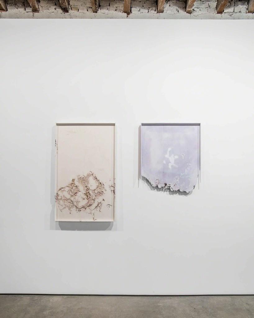 Josh Tonsfeldt, Untitled, 2015, pigment inks, styrofoam, sawdust in hydrocal, 30 x 47.5 in. / 76.2 x 120.65 cm.; Untitled, 2015, pigment inks, styrofoam, sawdust in hydrocal, 30 x 35 in. / 76.2 x 88.9 cm.; exhibition view, Simon Preston Gallery, New York