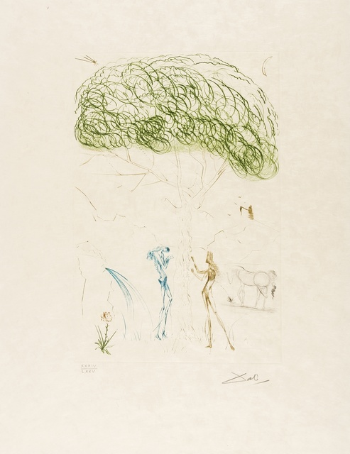 Salvador Dalí, 'Sous le Pin Parasol (Field 70-10I; M&L 414a)', 1970, Print, Etching printed in colours, Forum Auctions