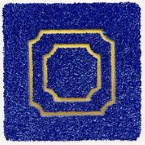 """, '""""Divisions (blue) relief object with Japanese paper and gold leaf,' 2009, Atrium Gallery"""