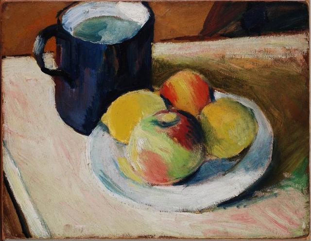 , 'Milchkrug mit Äpfeln auf Teller,' 1909, Beck & Eggeling