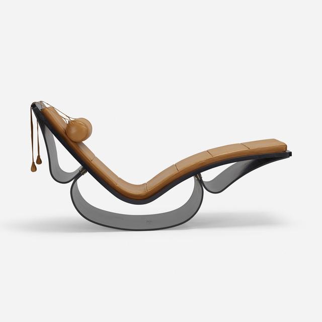 Oscar Niemeyer, 'Rio chaise lounge', c. 1978, Design/Decorative Art, Lacquered wood, leather, brass, Rago/Wright
