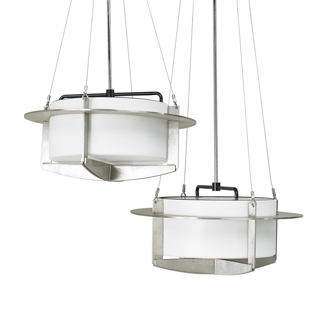 I.M. Pei, 'Pair of chandeliers', ca. 1968, Design/Decorative Art, Brushed stainless steel, chromed and enameled steel, single socket, metal halide bulb, USA, Rago/Wright