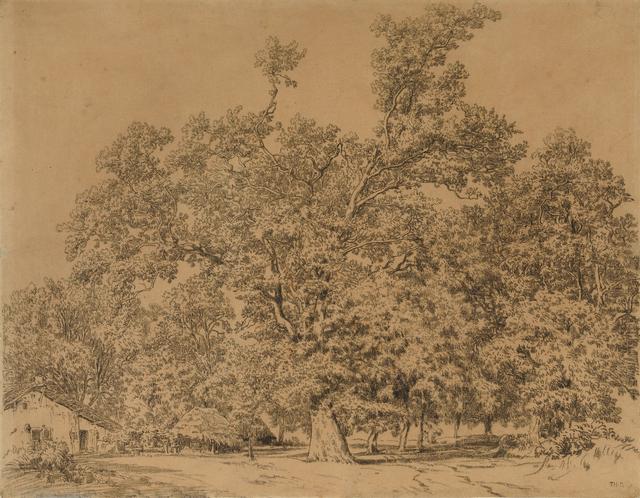 Théodore Rousseau, 'Trees and Cottage (Arbres et chaumière)', After 1844, Moeller Fine Art