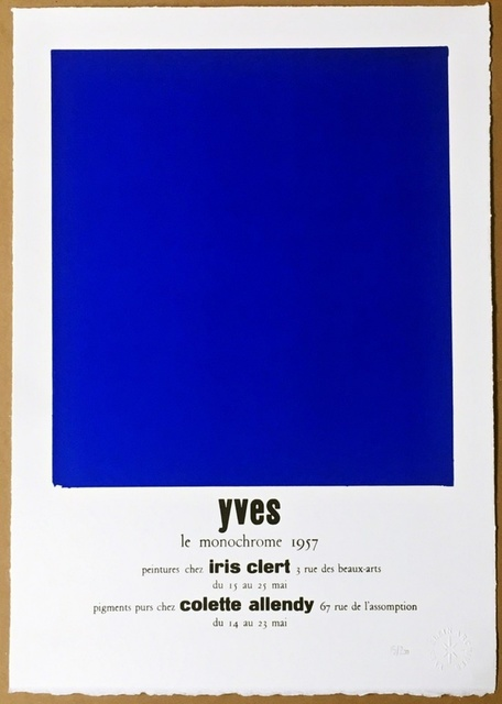 Yves Klein, 'Peintures Chez Iris Clert, 1957 (Certified by Yves Klein Archives)', 2015, Print, Lithograph on BFK Rives Paper with Deckled Edges, Alpha 137 Gallery