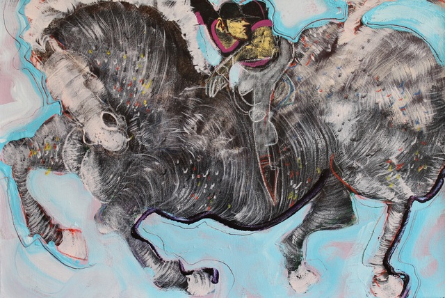 , 'Horse Rider on Light Blue,' ca. 2014, Adah Rose Gallery