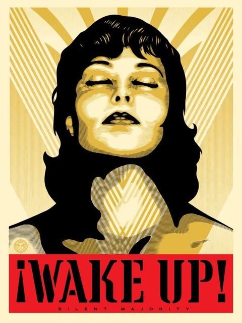 Shepard Fairey (OBEY), 'Wake Up! ( Cream)', 2017, Dope! Gallery