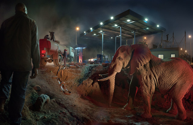 , 'Petrol Station with Elephant & Water Truck,' 2018, Fahey/Klein Gallery