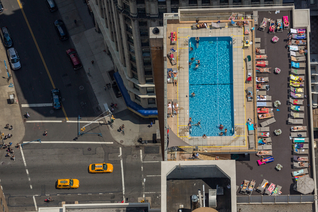 , 'Rooftop pool at the 300 Mercer Street Building in early summer afternoon in New York City.,' 2014, Anastasia Photo