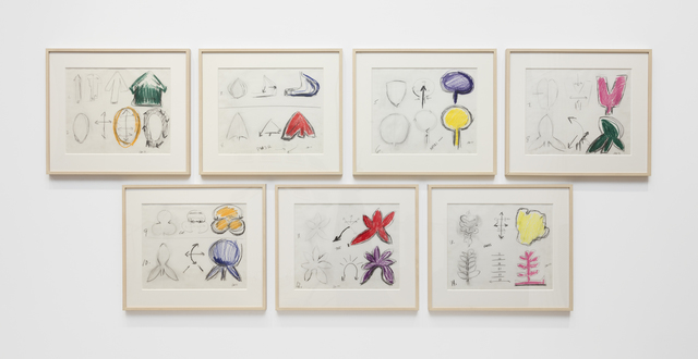 Ree Morton, 'Drawings for Manipulations of the Organic', 1977, Drawing, Collage or other Work on Paper, Crayon and pencil on seven sheets of vellum, Alexander and Bonin
