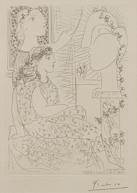 Pablo Picasso, 'Deux modèles vêtus (Two Dressed Models), plate 42, from La suite Vollard', 1933, Phillips