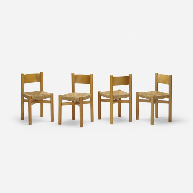 Charlotte Perriand, 'dining chairs, set of four', 1941, Design/Decorative Art, Ash, jute, Rago/Wright