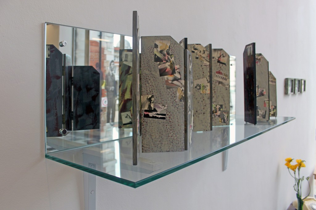 Marc Camille Chaimowicz, Screens maquettes, three folding screens in three and four panels, wood, photographs and paint, 1979.